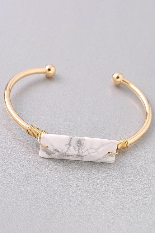 White Stone Bar Bracelet
