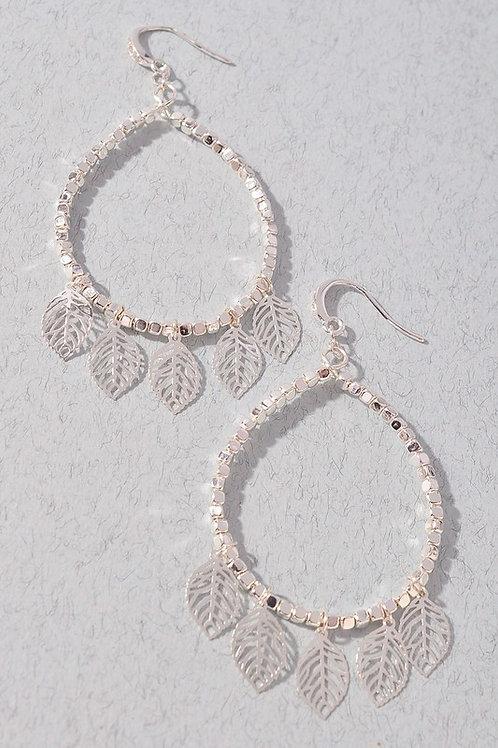 Silver Leaf Circle Drop Earrings