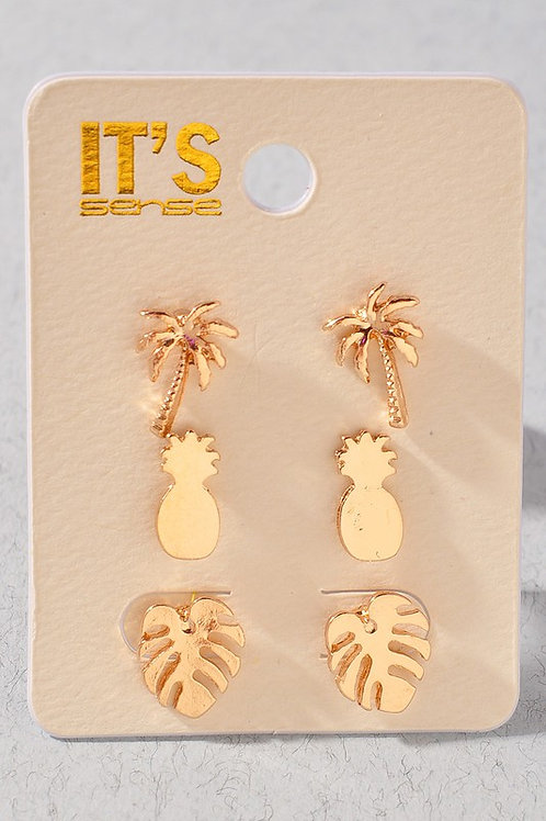 Tropical Palm Tree, Pineapple and Leaf Stud Earrings Set