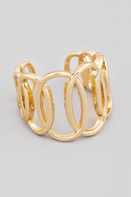 Adjustable Gold Oval Linked Ring (Preorder)