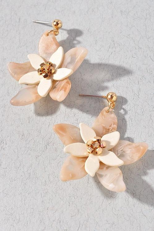 Ivory/Gold Flower Acetate Earrings
