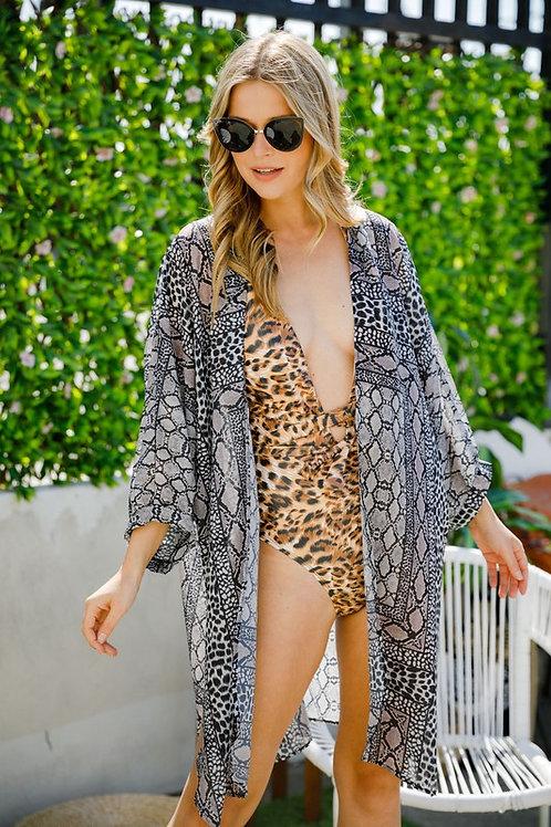 Top Leopard Print Sheer Kimono Cardigan Top