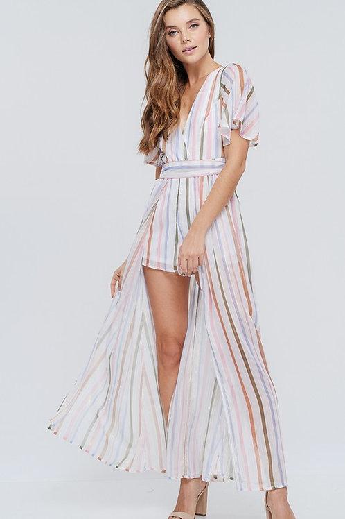 Striped Keyhole Back Romper Maxi Dress