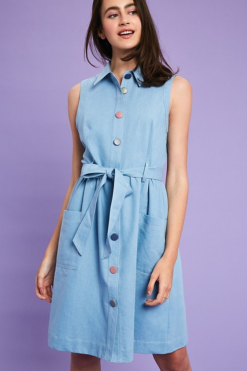 Sleeveless Chambray Multi Colour Button Detail Belted Dress