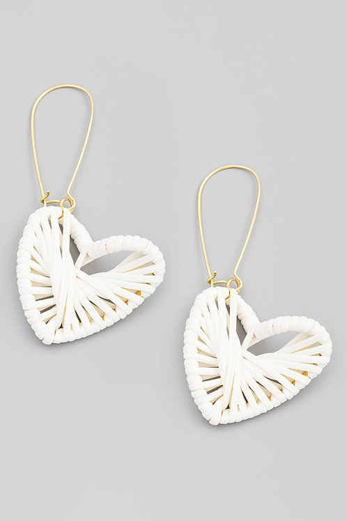 Woven Heart Drop Earrings