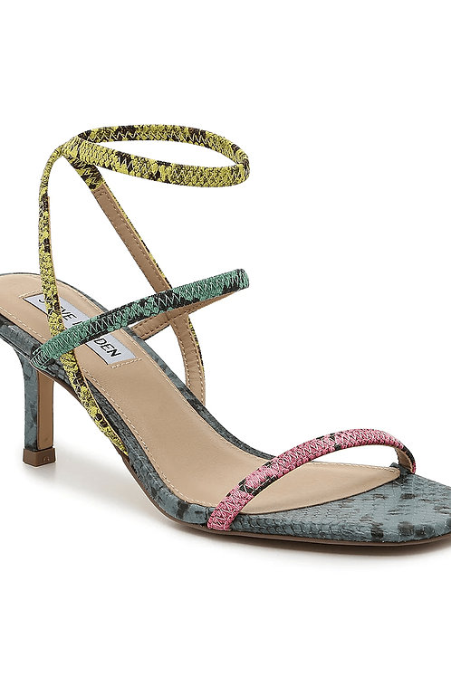 Multi-Colour Snake Print Strappy Squared Toe Kitten Heel Sandals