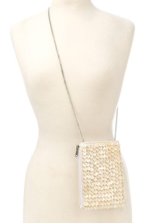 Floral Sequin Bead Detail Crossbody Bag
