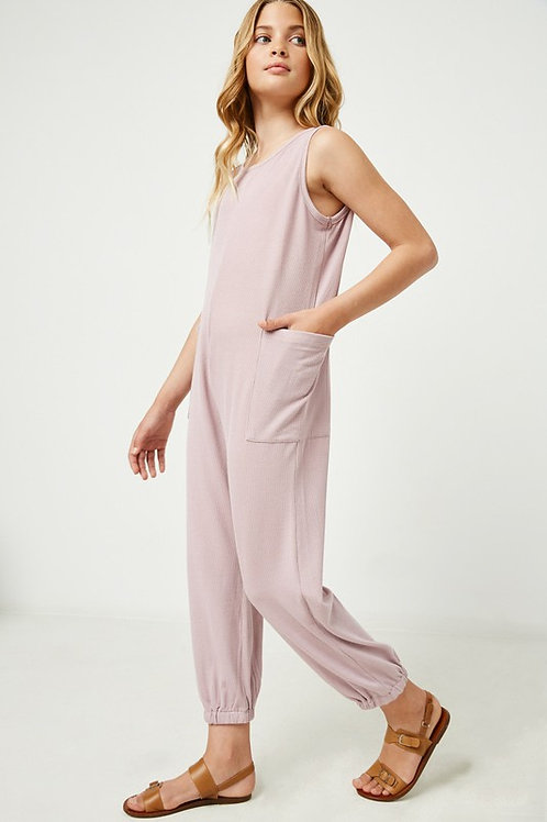 Sleeveless Ribbed Loose Fit Jumpsuit with Side Pockets