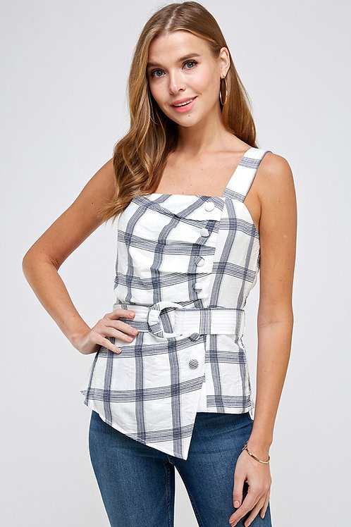 Grid Button Detail Belted Asymmetric Top