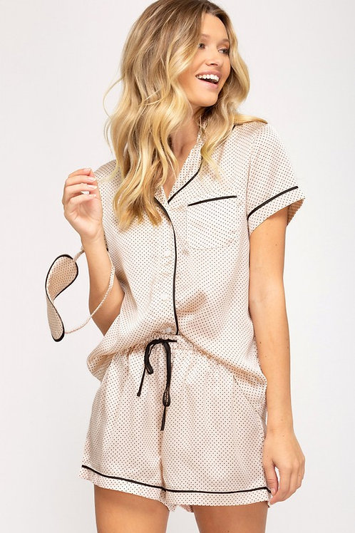Two Piece Short Sleeve Pajama Set With Eye Mask (Preorder)