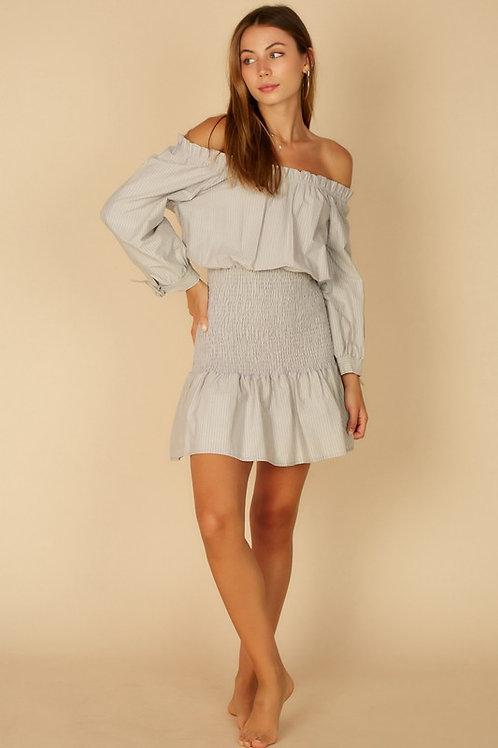 Off The Shoulder Smocked Long Sleeve Shirt Dress