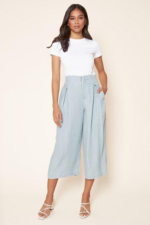 Chambray Wide Leg Crop Pants