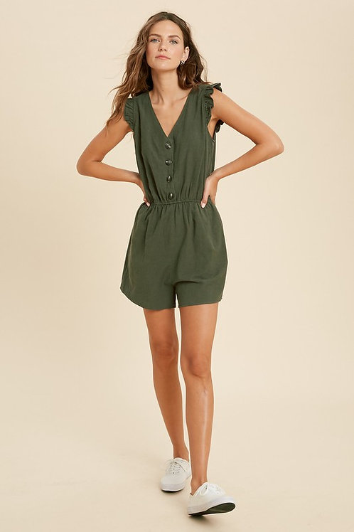 Ruffle Sleeve V Neck Romper with Side Pockets