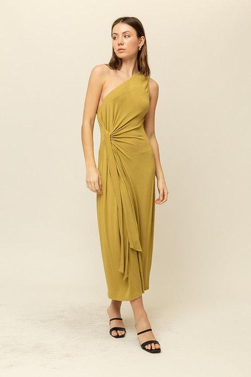 One Shoulder Side Tie Midi Dress