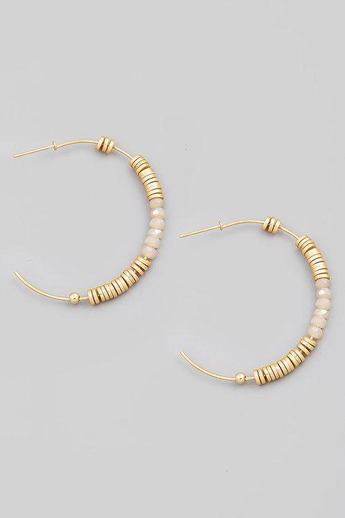 Ivory Disc Bead Hoop Earrings