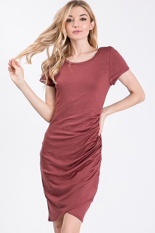 Short Sleeve Ruched Jersey Dress
