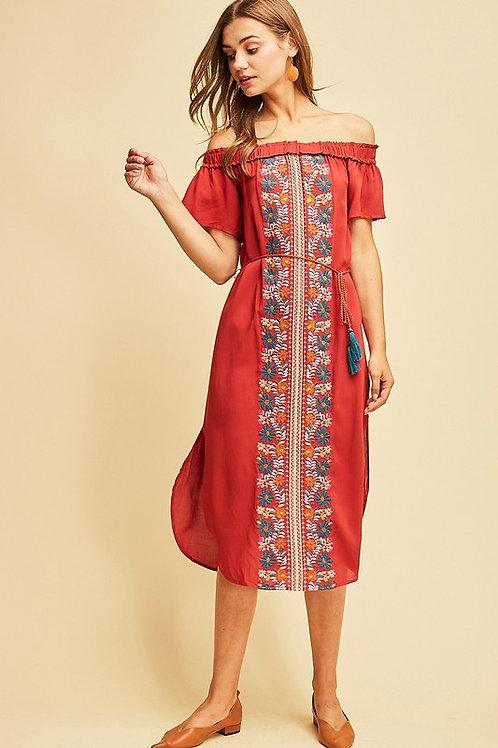 Off The Shoulder Embroidery Tassel Detail Dress