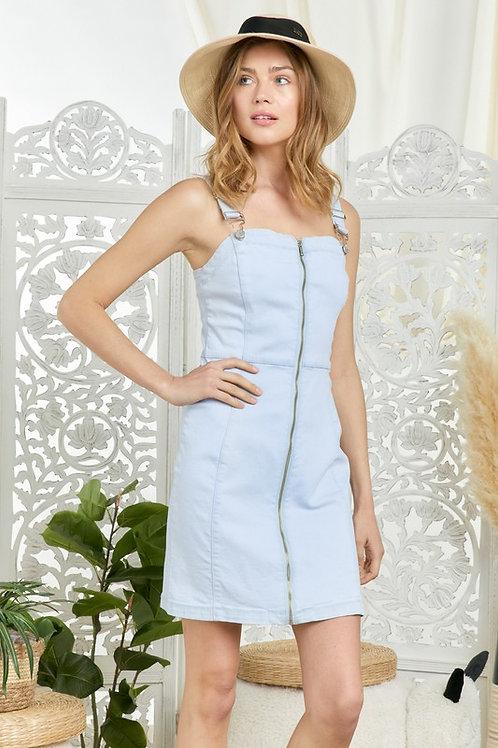 Overall Zipper Front Denim Dress