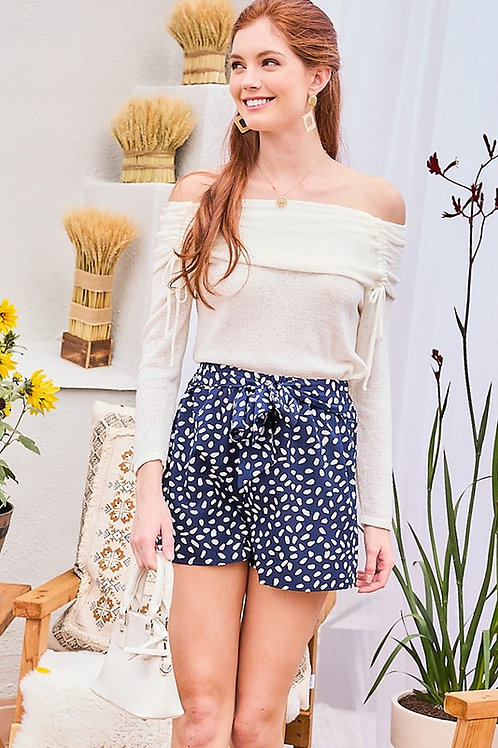 Print Belted Shorts