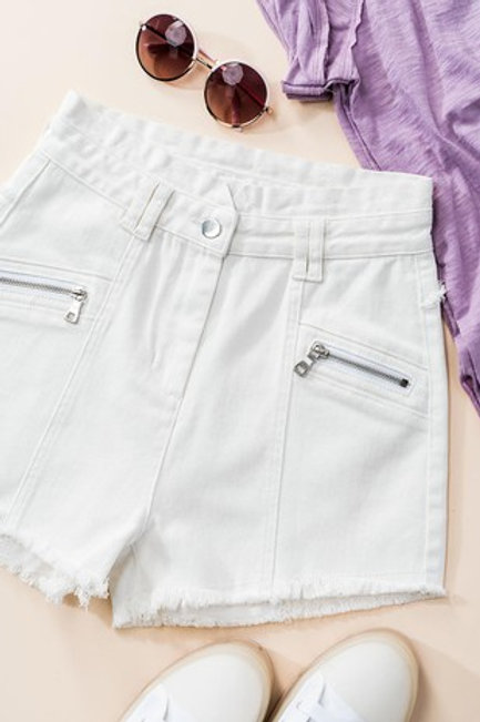 Zipper Detail Raw Hem Shorts (Available in Black)