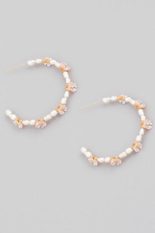 Pearl Flower Detail Hoop Earrings  - Pink