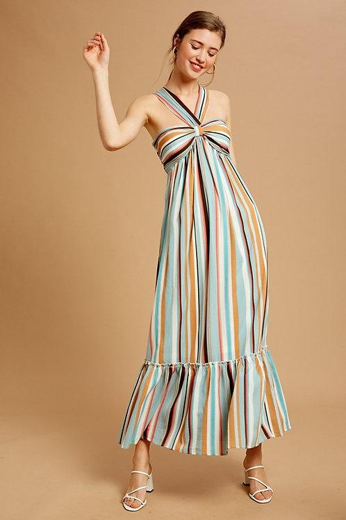 Striped Halter Neckline Maxi Dress