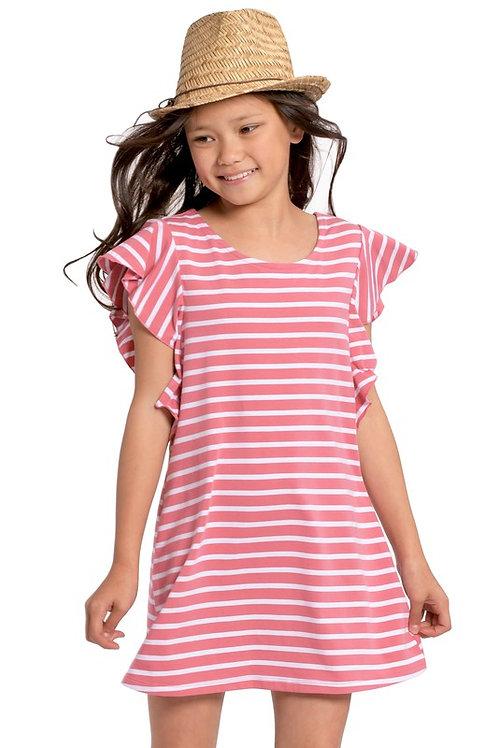 Striped Flutter Sleeve Shift Dress (Preorder)