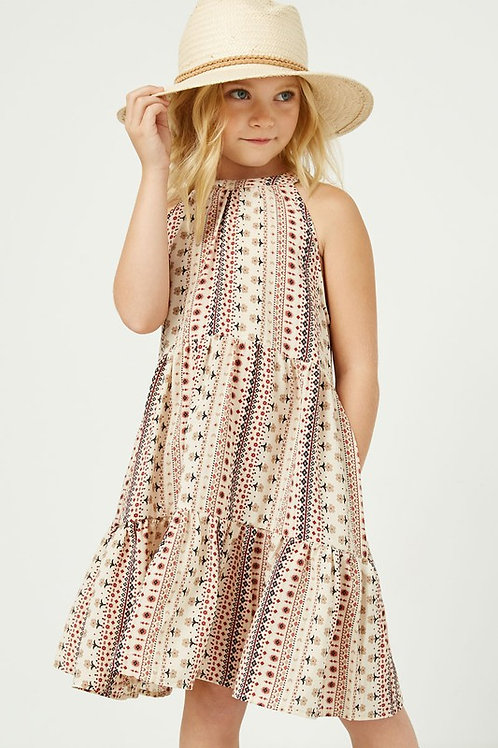 Tiered Print Halter Dress