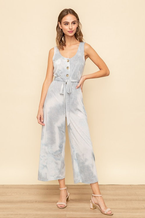 Sleeveless Button Detail Belted Crepe Jumpsuit
