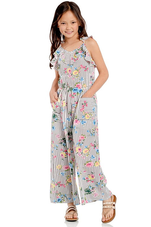 Floral Striped Ruffle Detail Front Pocket Jumpsuit (Preorder)