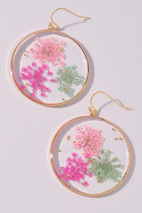 Circle Multi-colour Real Flowers Drop Earrings (Preorder)
