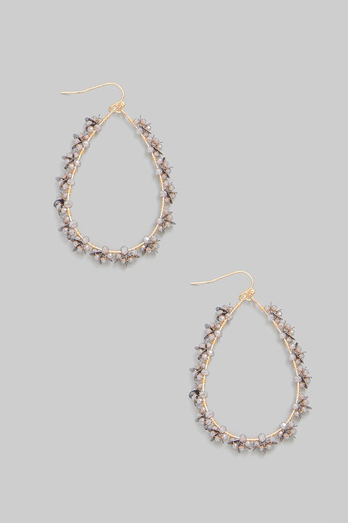 Grey Beaded Tear Drop Earrings