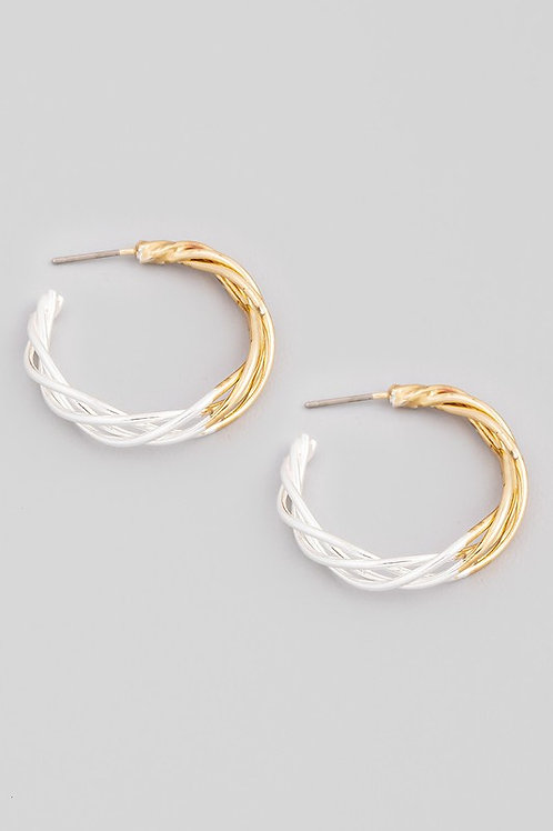Two Tone Gold/Silver Twist Design Hoop Earrings