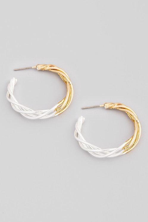 Two Tone Gold/Silver Twist Design Hoop Earrings