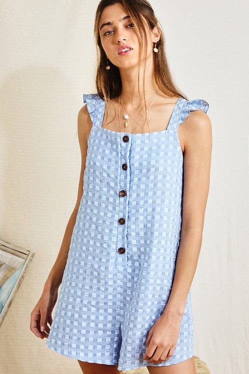 Texture Square Print Cotton Button Down Ruffle Detail Romper