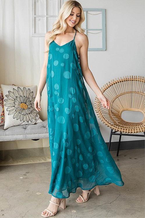 Spaghetti Strap Flowy Bubble Maxi Dress