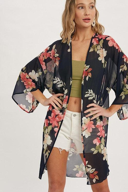 Floral Kimono Cover Up Top