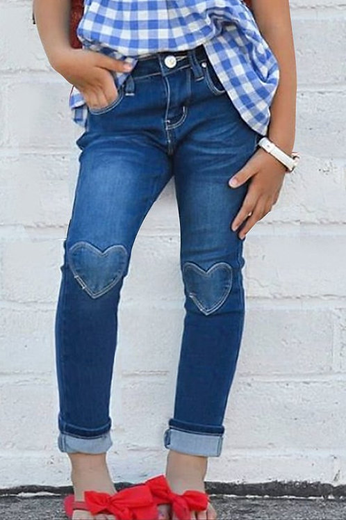 Heart Patch Knee Skinny Jeans