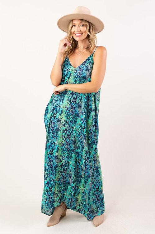 Spaghetti Strap Snakeskin Loose Fit Maxi Dress (Preorder)