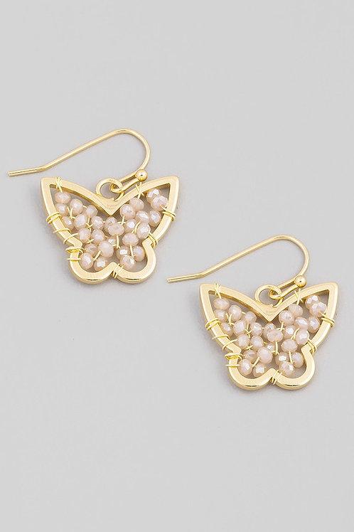 Mini Bead Butterfly Drop Earrings - Pink