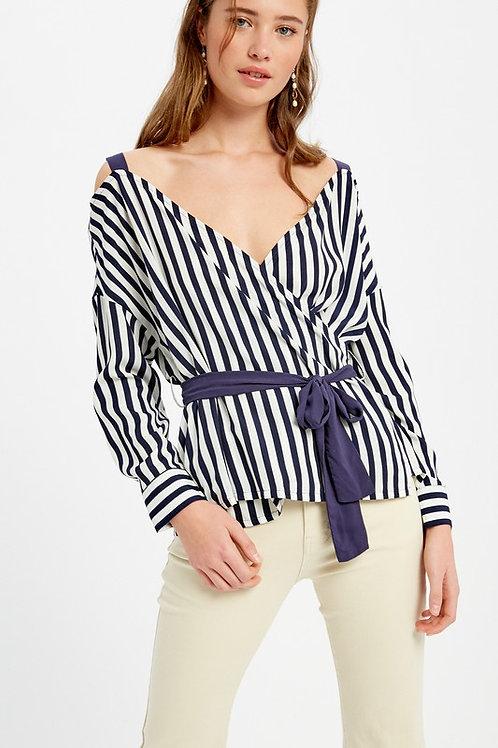 Striped Cold Shoulder Long Sleeve Belted Top