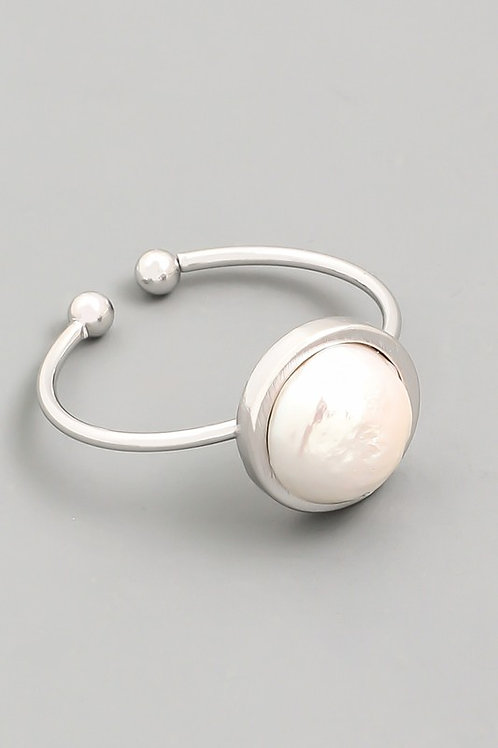 Silver Pearl Adjustable Ring