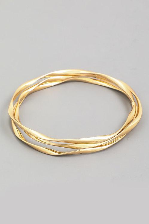 Gold Twist Bangle Bracelet Set