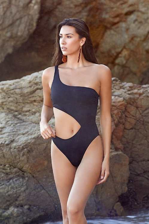 One Shoulder Side Cut Out Swimsuit With Removable Belt