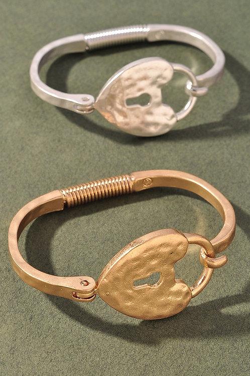 Heart Keyhole Bracelet - Gold