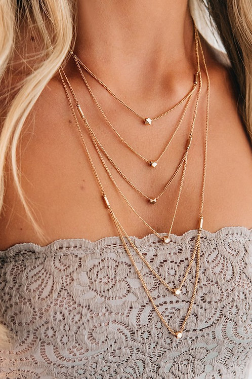 Gold Charm Detail Layered Necklace