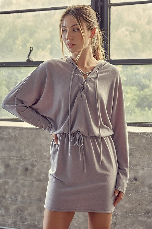 The Alana Lee Laced Up Drawstring Hoodie Dress
