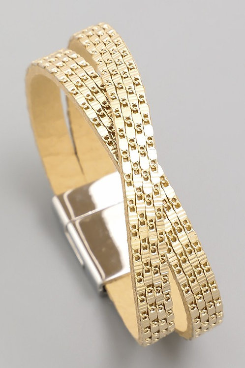 Gold Chain Faux Leather Magnetic Bracelet