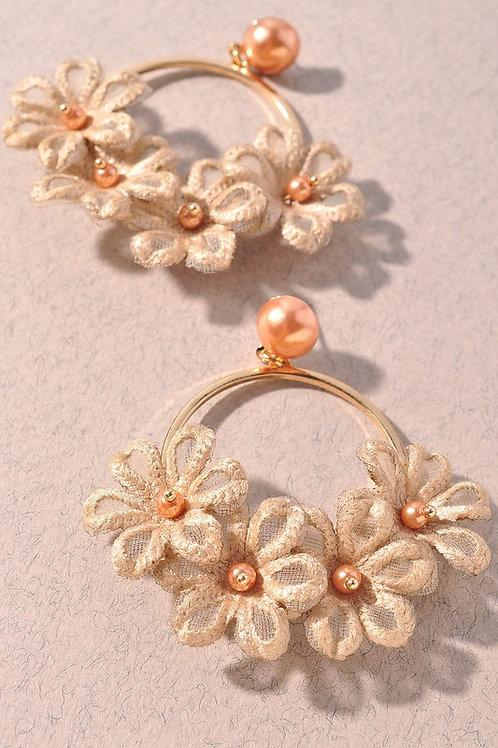 Gold/Tan Fabric Flower Drop Earrings