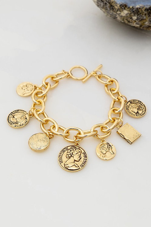 Coin and Locket Charm Bracelet
